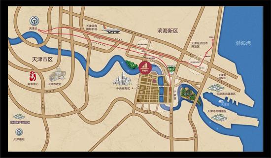 项目地处天津滨海新区中心商务区,雄踞海河首排,紧邻彩带岛景观,项目图片